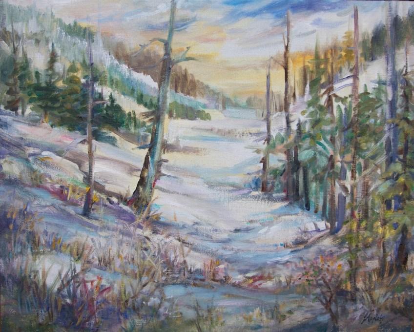 Cypress Snow Scene 16 x 20 Oil on Linen Board