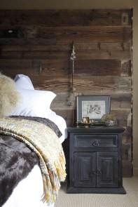 Reclaimed wood headboard; Jane Ashton