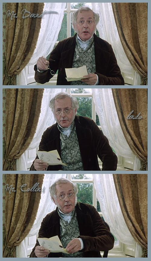 Mr. Bennet lendo Mr. Collins