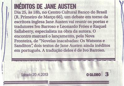 Novelas inacabadas de Jane Austen, jornal O Globo