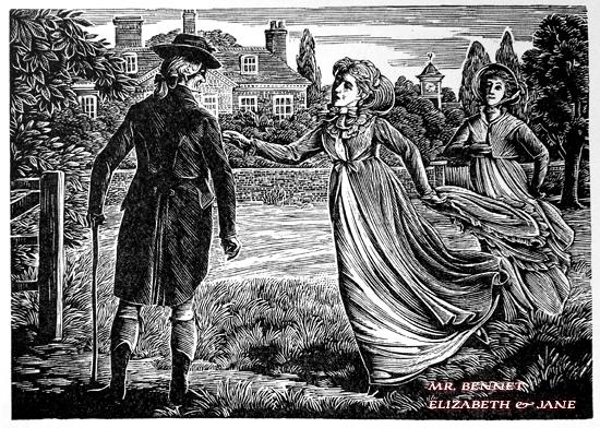 Mr. Bennet e as filhas, Elizabeth e Jane, ilustração de Joan Hassal