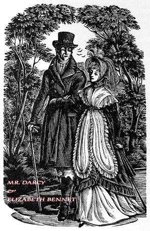 Mr. Darcy e Elizabeth, ilustração Joan Hassal