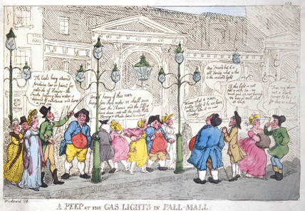 A peep at the gas lights in Pall Mall, Rowlandson