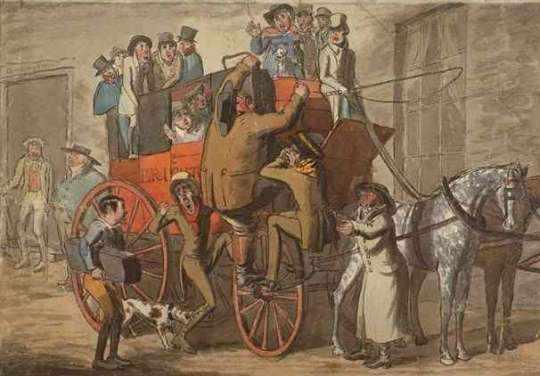 Coach leaving Brighton, 1840