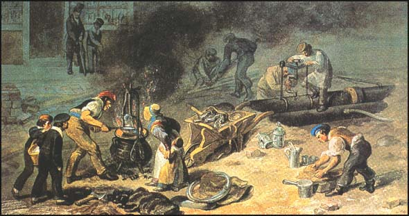 Laying a water-main in Tottenham Court Road, George Scharf, 1834