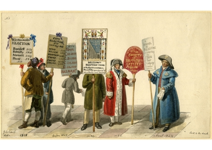 Carrying Election Advertisements, George Scharf, Scenes of London
