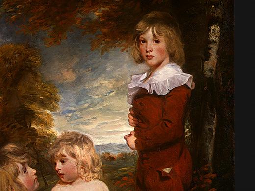 Detail of The Hoppner Children, 1791. Formal skeleton suit.