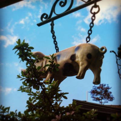 The famous pig from The Spotted Pig, Greenwich Village