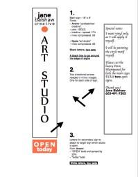 Sign design; janebalshaw.com