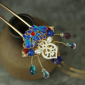 Butterfly shape Cloisonne hairpin retro fine handmade gild copper hair fork