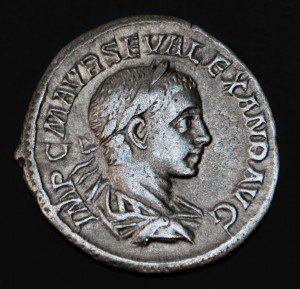 Ancient Roman coin, the head of Geta