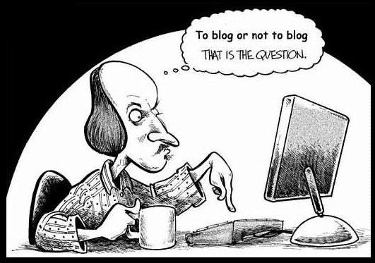 Shakespeare and blogging, cartoon