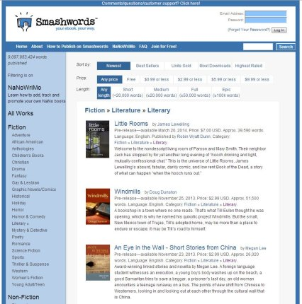 Part of the literary fiction listings page at Smashwords.