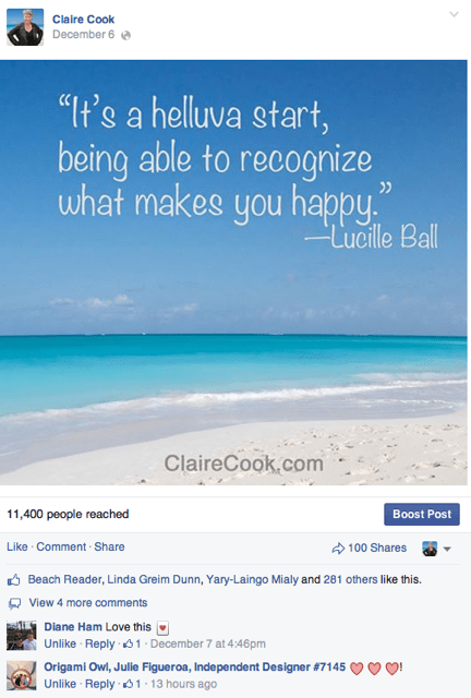 Claire Cook Facebook photo