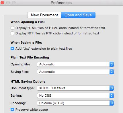 Text Edit Preferences