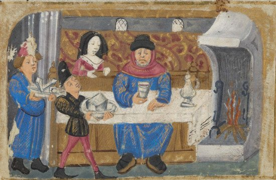 A scene from an illuminated manuscript of a man sitting down to feast.