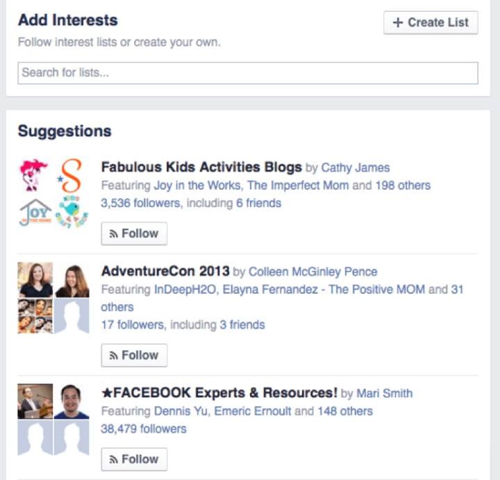 A screenshot of a Facebook interests list.