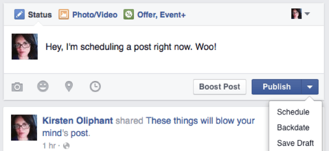 An image of the options under Publish Post, including Schedule, Backdate, and Save Draft