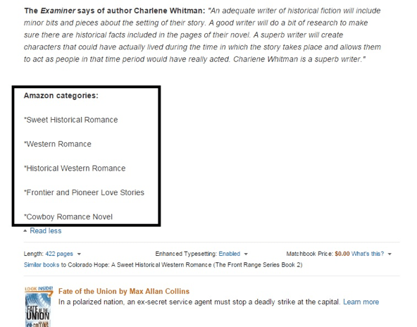 A screenshot showing a list of Amazon categories in a book description