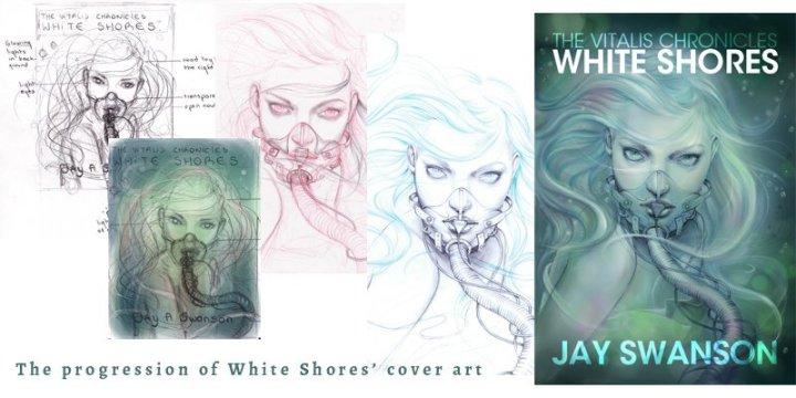 Art progression for White Shores cover art.