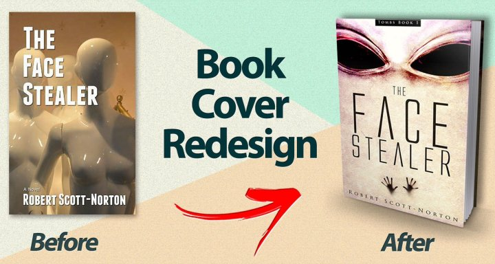 The cover of The Face Stealer before and after redesign