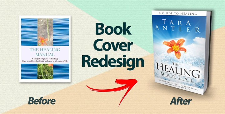 The cover of Healing Manual before and after redesign