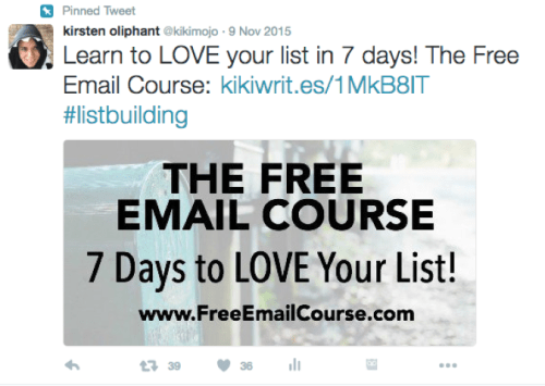 Example of a pinned list-building post at the top of a profile (in this case, a link to Kirsten Oliphant's free course).
