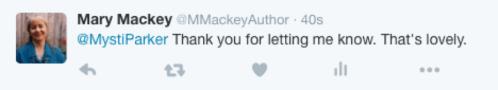 Twitter response from Mary Mackey to Mysti Parker