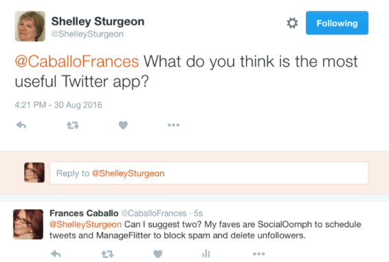A tweet from Frances Caballo answering a question from a follower