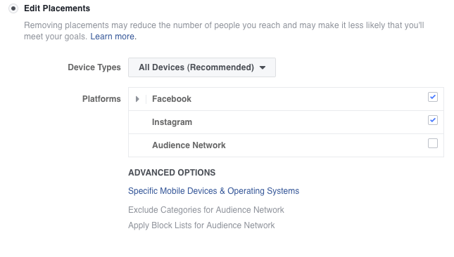 Facebook Edit Placement selection