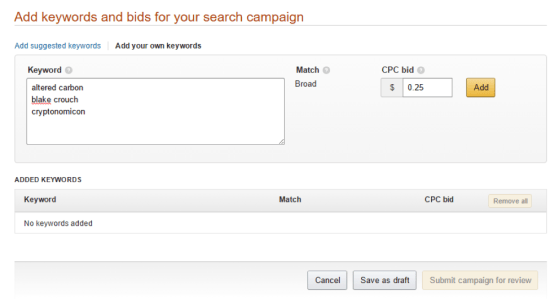 add keywords bids