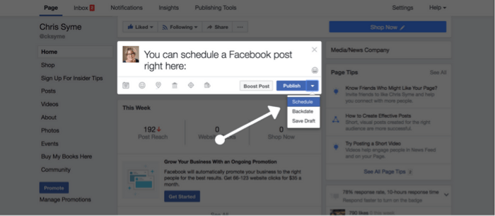 Facebook schedule post