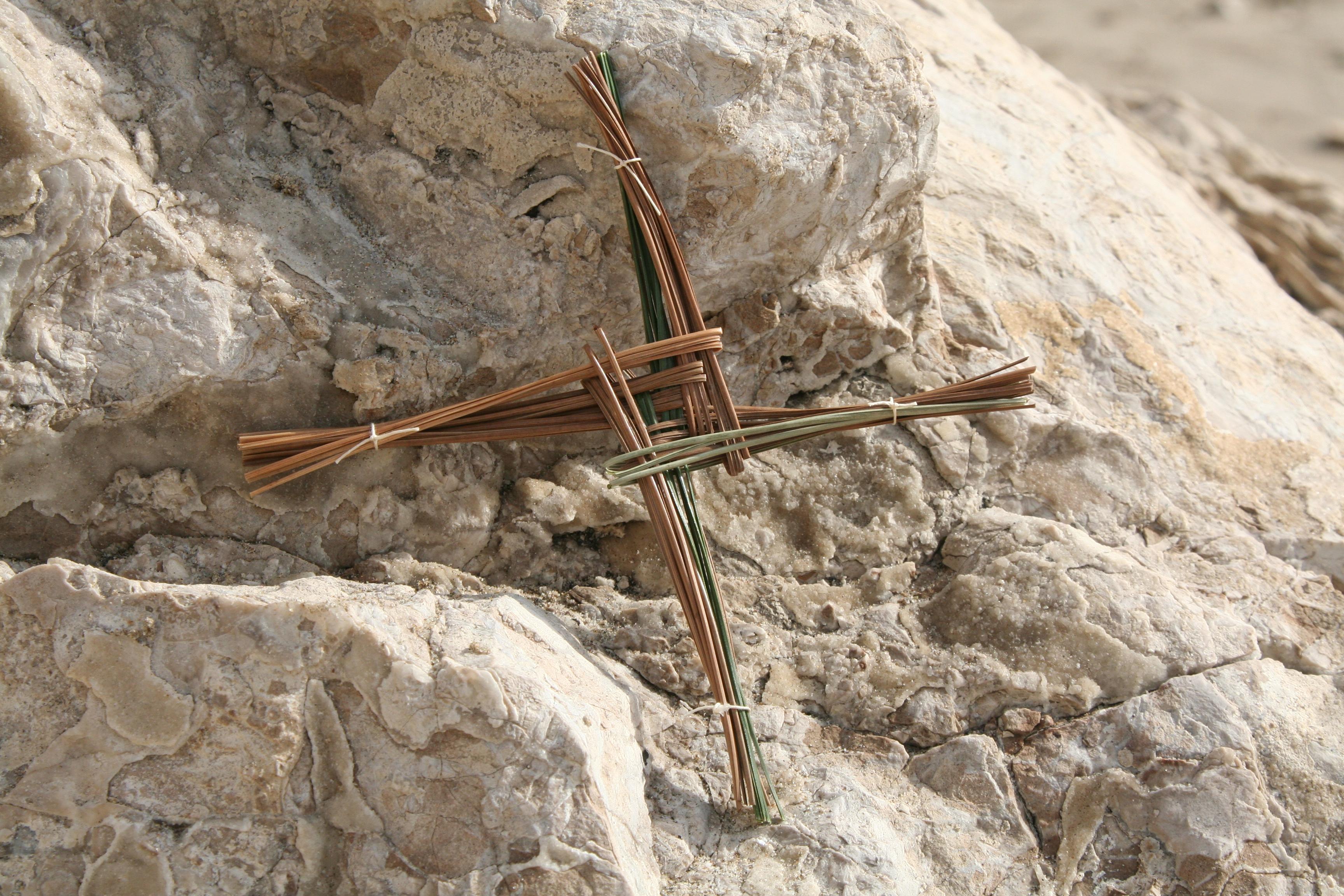 St Brigid cross of pine needles