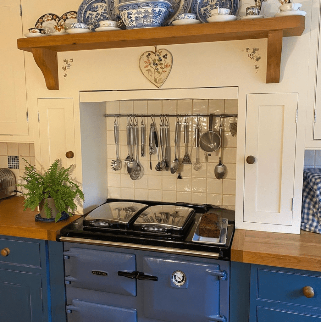 All ship shape with the beautiful new Rayburn in place (and a loaf of Bill's fruit loaf for tea!)
