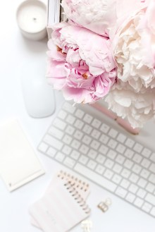 flowers and keyboard