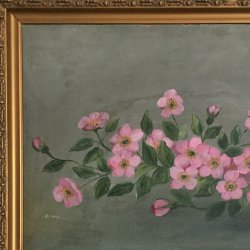 rustic painting of flowers in gold frame