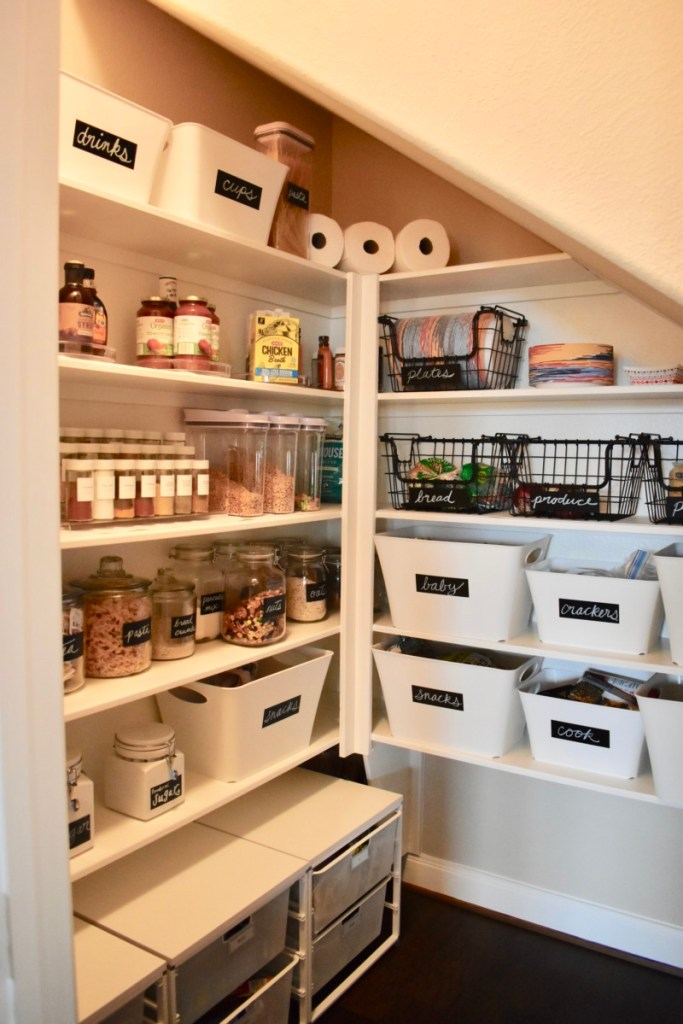 Pantry after photo organized creative design