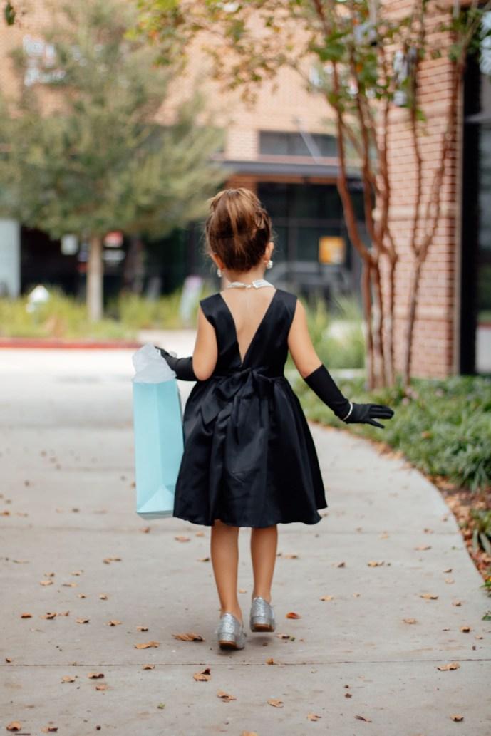 Back side of Audrey Hepburn dress costume for kids