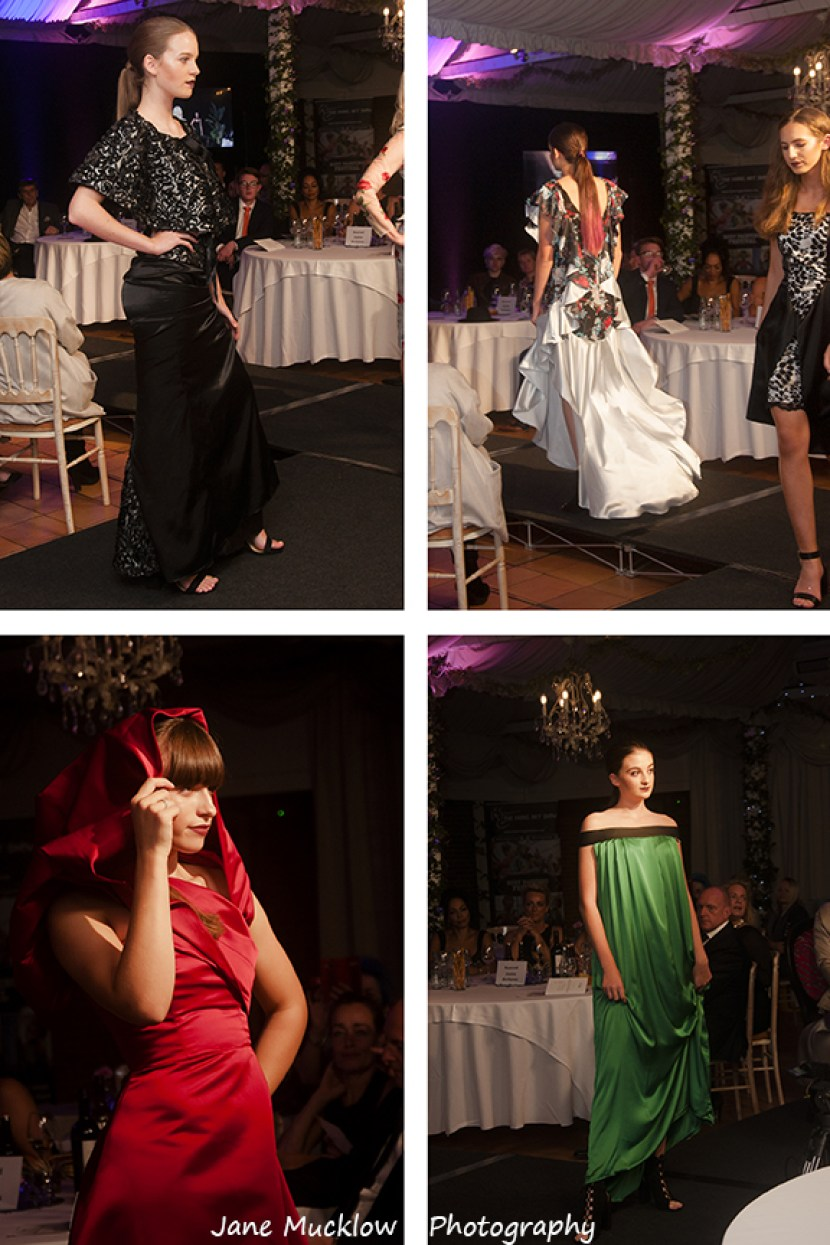 Photographs by Jane Mucklow of models wearing outfits designed and made by Caroline Bruce