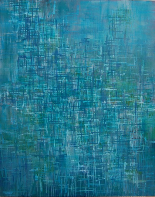 Framework in Grey-Blue, acrylic, 48 x 60 inches, SOLD