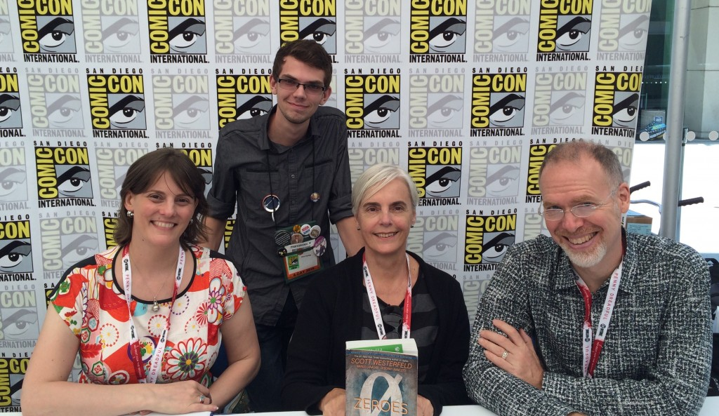 Deborah Biancotti, Margo Lanagan and Scott Westerfeld at Comic-con