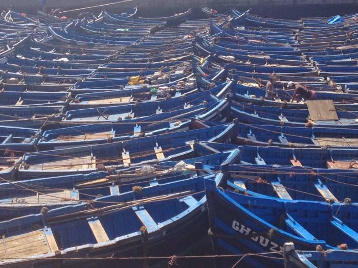choosing Essaouira, Morocoo blue boat