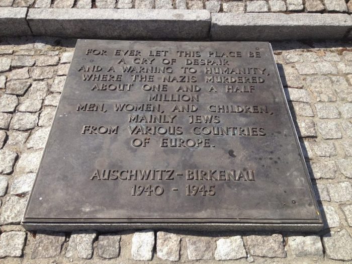 Plaque at Auschwitz Poland vacation travel