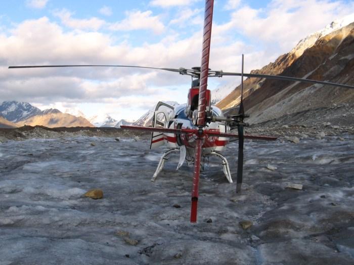 Helicopter on a glacier in Alaska