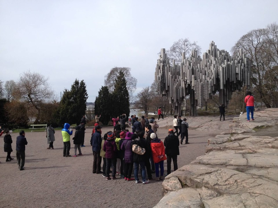 Sibelius Monument Helsinki Finland tourists travel vacation