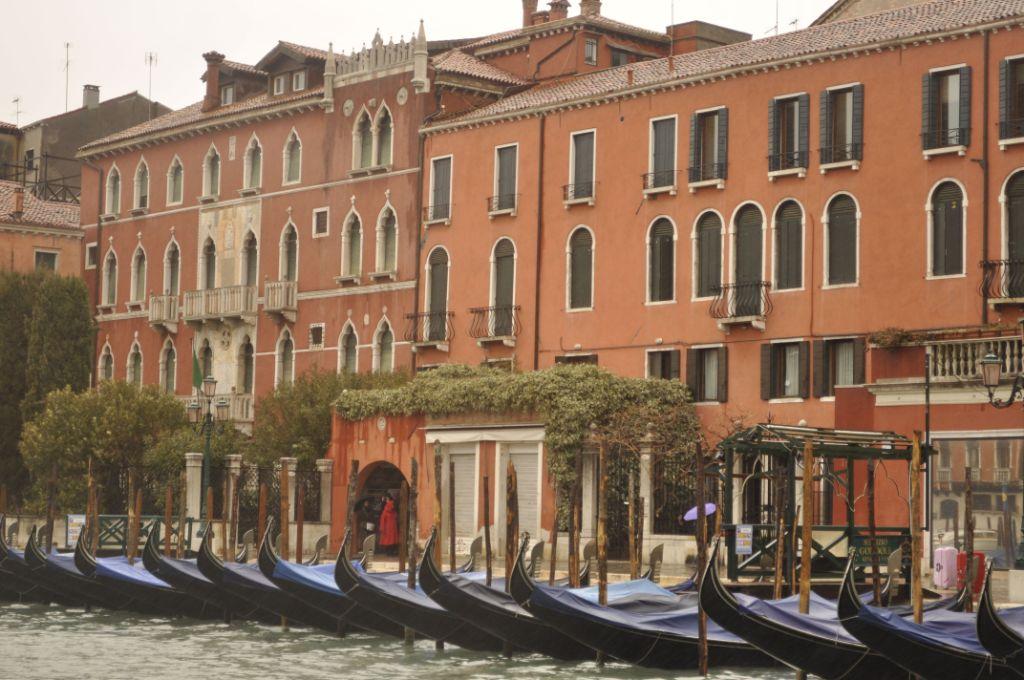 Blue boats in Venice, Italy.
