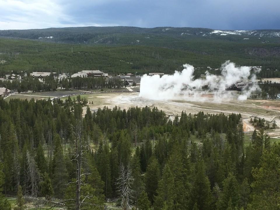 Overlook Old Faithful Yellowstone tourists travel vacation