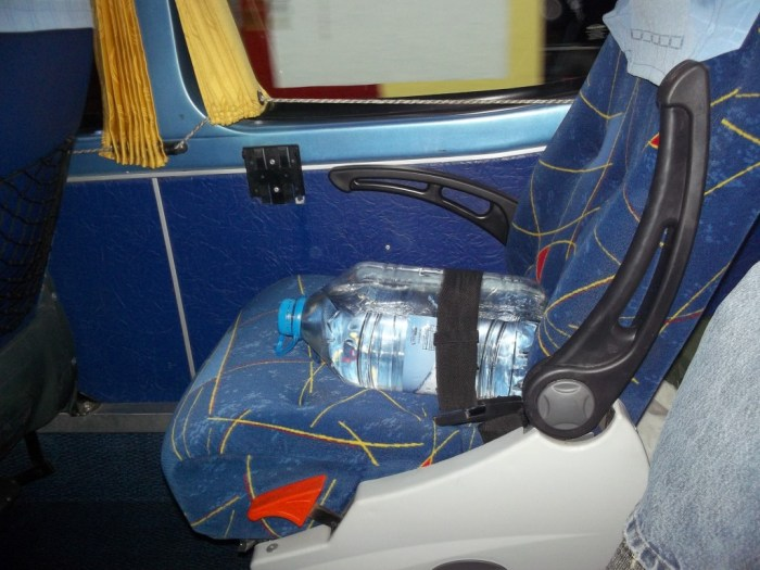 Water bottles in a bus
