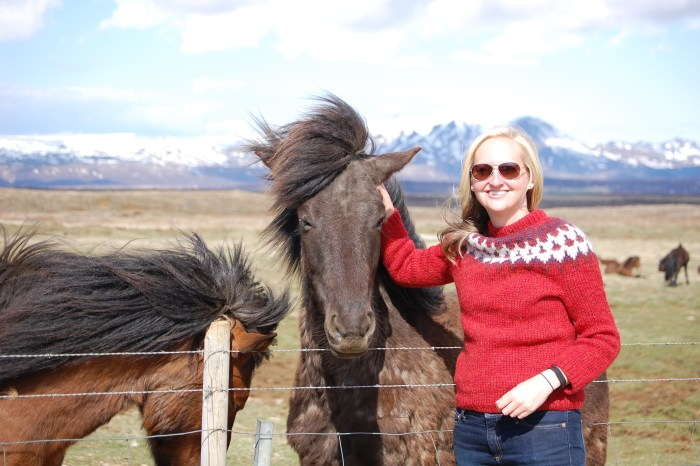 Iceland horses wind girl red sweater
