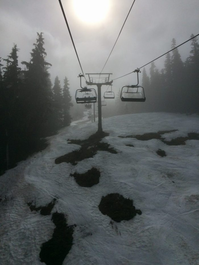 Ski lift and fog at Whistler-Blackcomb